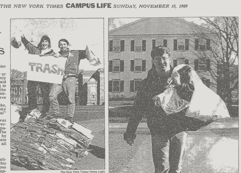 Carry Trash Pic Dartmouth New York Times 1989